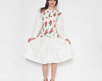 Vintage 80's Floral White Dress / Long Sleeve Pleated Dress / Button White Dress / Midi Flared Dress / Long Sleeve White Dress