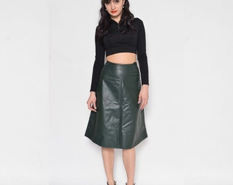 Vintage 80's Real Leather Olive Green Skirt / High Waist Leather Mini Skirt / Moss Green Genuine Leather Skirt - Size Small