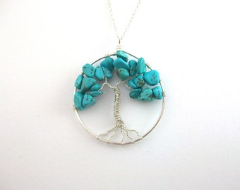 Turquoise tree of life pendant, 925 Sterling Silver tree necklace, ethical jewellery, hippie gifts