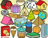 3D Objects Shapes Clip Art