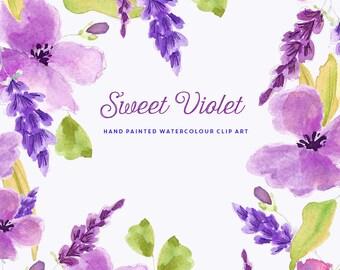 Watercolour Flower Hand Painted Clip Art - Sweet Violet