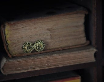 Black and Gold Flower Patterned Button Stud Earrings!