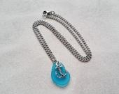 Nautical Anchor Necklace, Blue Aqua Sea Glass Necklace, Rockabilly Sailing Jewelry