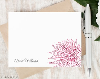 Personalized Stationery Set / Personalized Stationery Note Cards / Custom Personalised Flat Notecards // CHRYSANTHEMUM FLOWER OUTLINE