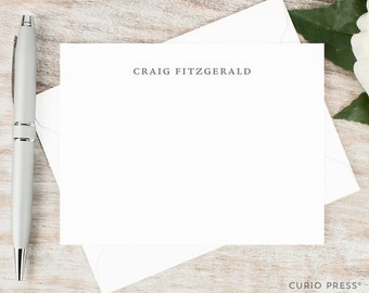 Personalized Notecard Set / Personalized Stationery Set / Stationary Note Card Set / Simple Elegant Professional Men's Name // SIMPLICITY