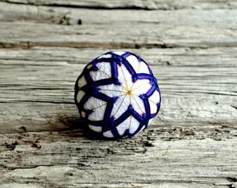 Purple Temari Ball, Violet Japanese Ball, Purple and Blue Temari Ball, Japanese Folk Art, Ball Ornament, Christmas Temari Ball Ornament