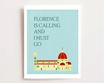 Florence Art Printable - Italy Printable - Duomo Wall Art - Santa Maria del Fiore - Printable Gift - Loves Florence - Travel Printable Art