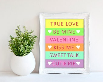 Valentine's Day Print - Conversation Hearts Decoration - Valentine Print - Candy Art