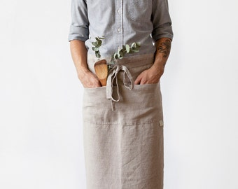 Natural Stone Washed Linen Garcon Apron