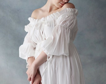 Handmade off  shoulder Ivory White  Cotton Wedding Bridal Dress with High Quality Embroidery Details.