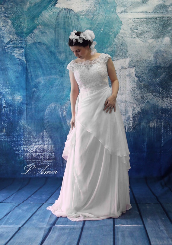 Boho Wedding Dress Size 18 : Romantic silk chiffon boho lace wedding dress great for