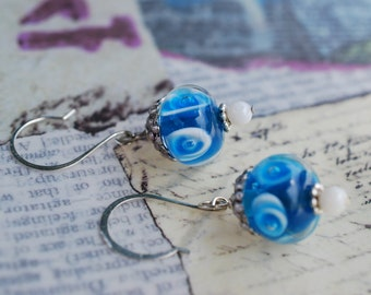Blue Lamp work bead dangle earrings