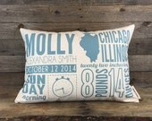 Birth Announcement Pillow, Custom Pillow, Baby Gift, Nursery Pillow, Personalized Gift, Mother's Day Gift, Baby Stats, Throw Pillow