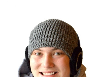 Mens Headphones Hat, Hipster Beanie, Teen Boys Gift, Mens Winter Hat, Headphone Beanie, Boys Crochet Hat, Mens Crochet, Mens Knit Hat Gray