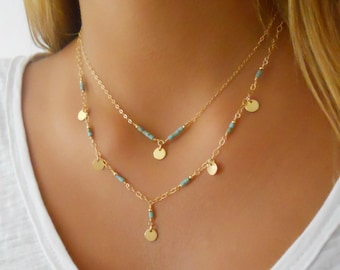 Turquoise Necklace; Set of 2 Necklaces; Layered Necklace; 14K Gold Filled Necklace; Turquoise & Gold Necklace; Coin Necklace; Boho Necklace