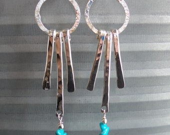 Handmade Sterling Silver hammered long three drop earrings turquoise beads
