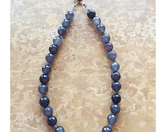 Sterling Silver Gray Beaded Necklace