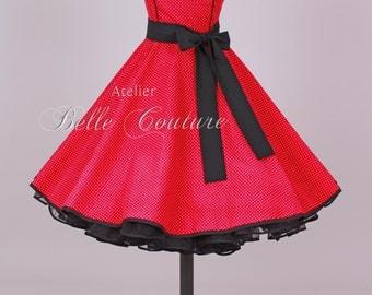 Custom Made & Handmade - 50s petticoat dress red/black item: 2803