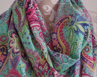 Paisley Infinity scarf, Woman scarves, spring accessory , scarf, tube scarf, eternity scarf, spring and summer scarf, gift for her