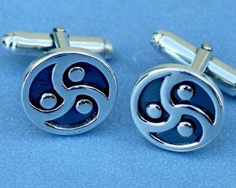 BDSM Symbol Triskele, Sterling Silver Cuff Links, Handmade