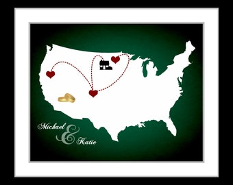 United States Wall Art Print: Custom US Map With Hearts Ring Unique Valentines Gift For Couples Who Travel Personalized Mothers Day Presents