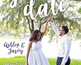 SAVE THE DATE with Photo | Handwriting | Printable | Elegant