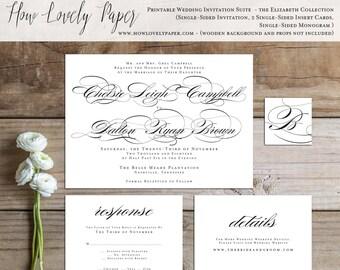 Printable Wedding Invitation Suite - the Elizabeth Collection