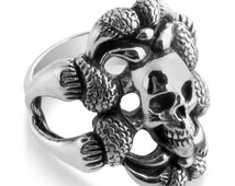 Serpent and Skull Hardcore Large Mens Ring #925 Sterling Silver #Azaggi R0670S