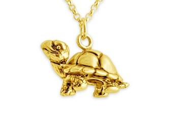 Walking Tortoise Turtle Charm Pendant Necklace #14k Gold Plated over 925 Sterling Silver #Azaggi N0458G