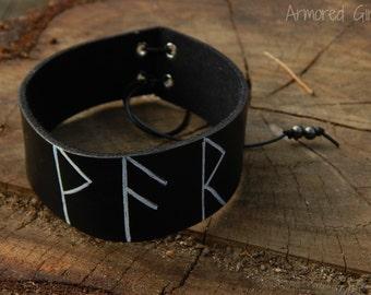 Rune Leather arm cuff WAR, viking, pagan, norse,