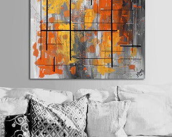 "Made to order. Original abstract painting. 24x24"" canvas art. Geometric with yellow, orange. Yellow painting. Modern wall art. Fine art"