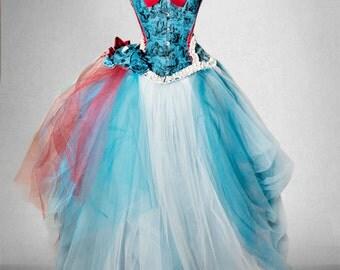 ALICE IN WONDERLAND wedding gown, wedding dress, bridal corset, corset wedding dress, corset bridal dresses, bridal corset top