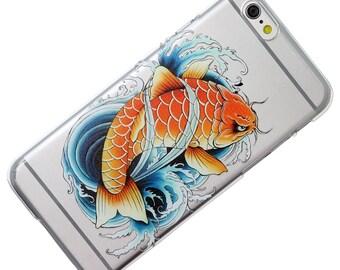 Colored Asian Koi, Carp, Fish, Transparent, iPhone Case,  Phone Case, iPhone 6, iphone 7, iphone 5, iphone se, iphone 6 plus, iphone 7 plus