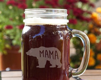 Mama Bear Motherly Love Customizable Etched Canning Jar Mug Glassware Gift