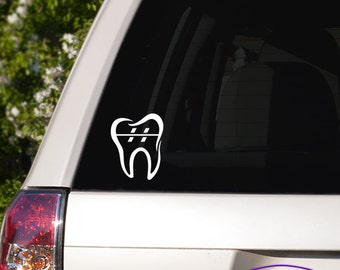 Orthodontic Tooth with Braces Car Window Decal
