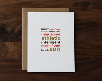 Mother's Day Card from Son - Awesome, Handsome, Athletic… Humorous Mother's Day Card for Mom - 049
