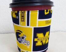 Fabric Coffee Cozy, University of Michigan, U of M Design