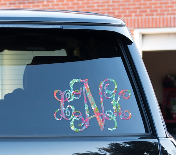 colorful coral monogram car decal car stickers for women car