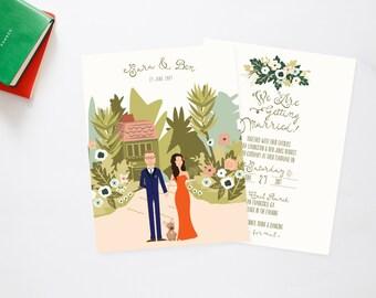 Boho Beach Bungalow Secret Garden Couples + Pet Portrait Wedding Invites /// Illustrated Couples Portrait /// Illustrated Family Portrait