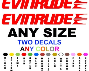 "EVEINRUDE boat stickers decals "" any color""  "" any size "" PAIR"