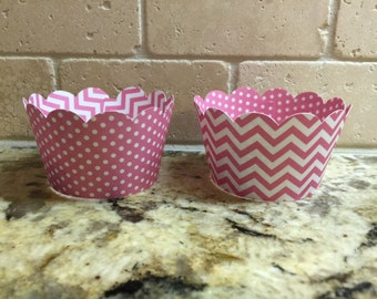 12 Cupcake Wrappers - Pink Chevron and Pink w/ White Polka Dots - Double-sided cupcake wrapper