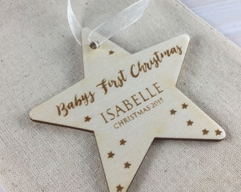 Baby's First Christmas 2017 // Personalised Wooden Star Christmas Tree Decoration