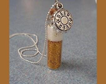 Beer Diva Glass Vial Necklace.  For Beer Lovers. Bartender gift