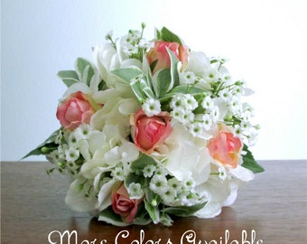 """Blush Pink, White, and Green, Petite Silk Flower Bouquet, Roses, Hydrangea, Baby's Breath, Custom Colors Available, """"Sweetheart"""""""