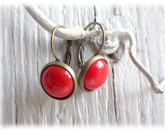 Earrings Brisur cabochon in red vintage style with cabochon