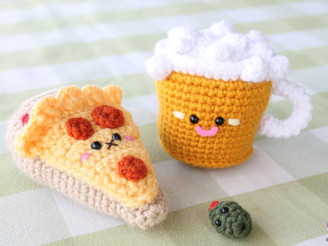 Amigurumi Crochet Food Patterns : Amigurumi Food Combo Pizza Night Beer Crochet Pattern