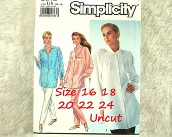 Pants Shirt, L XL XXL, Simplicity 9918 Pattern, Straight Leg, Pleats, Shirttail, Raglan Sleeves, 1990 Uncut, Size 16 18 20 22 24
