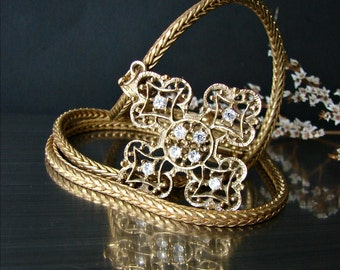 Miriam Haskell bronze chain jewelry. Bronze cross rhinestone pendant. Signed Miriam Haskell chain