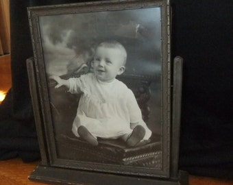 Carved Wood Swivel Easel Picture Frame, Dark Finish, 1920s
