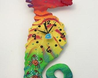 Clock, Sea Horse Clock,  Wall Clock, Home Decor for children, Kids, Nursery, Playroom, Gift